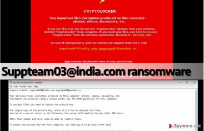 Screenshots of files associated with Suppteam03@india.com virus