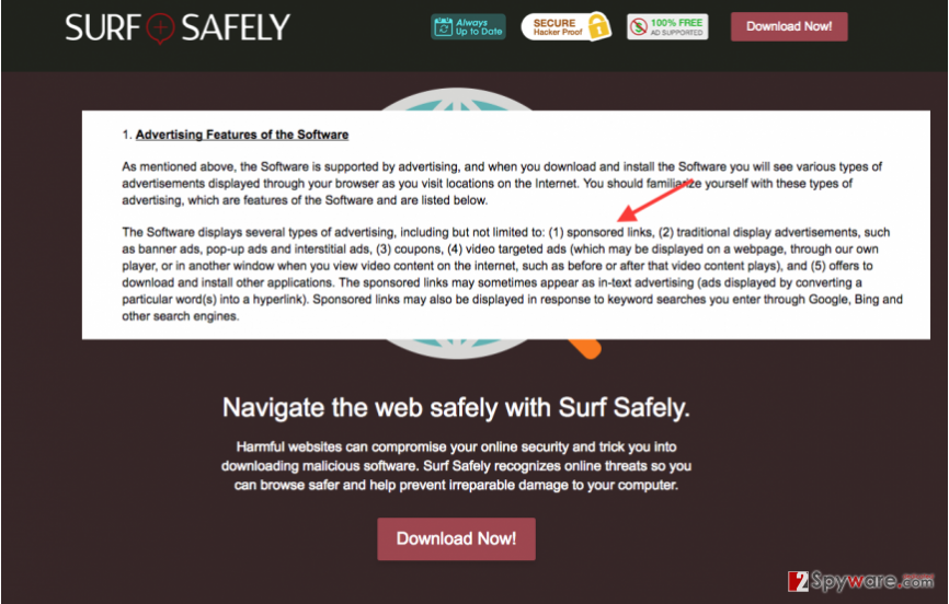 The picture showing Surf Safely official page and the extract from its Privacy Policy