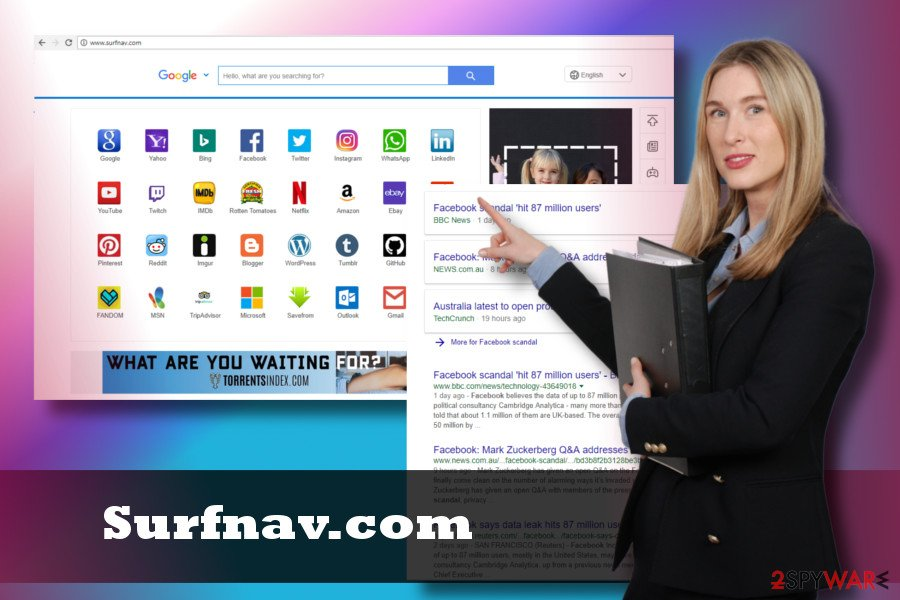 Surfnav.com virus displays intrusive content