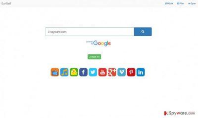 A screenshot of the SurfSelf.com virus
