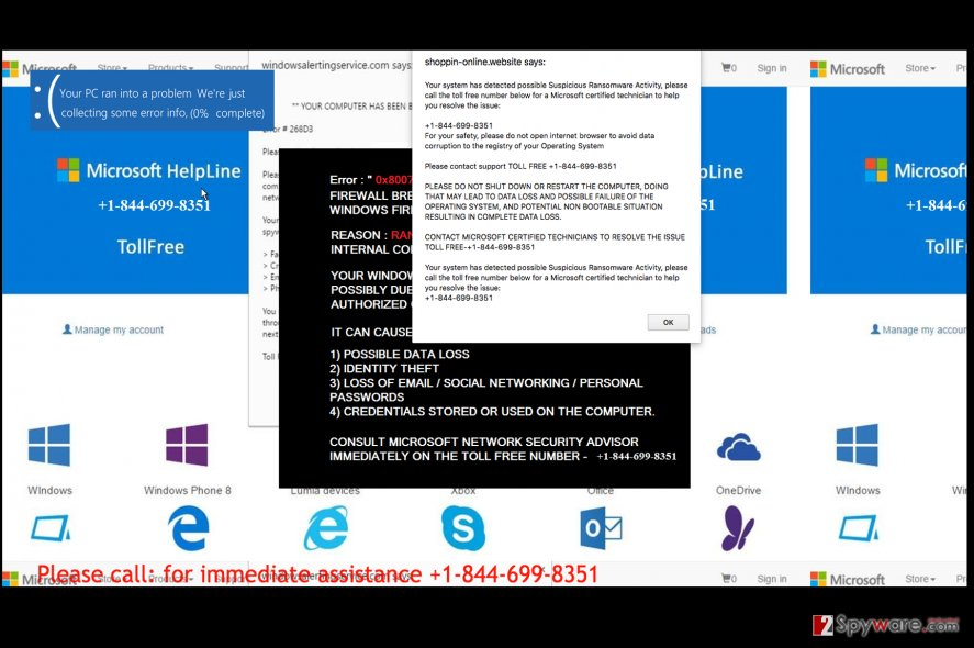 Suspicious Ransomware Activity detected Tech support scam virus