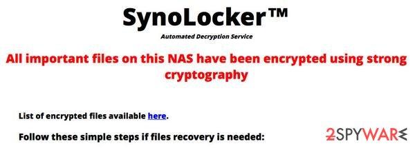 SynoLocker virus snapshot