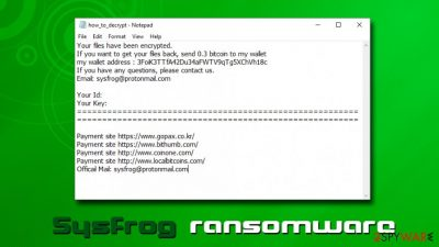 Sysfrog ransomware