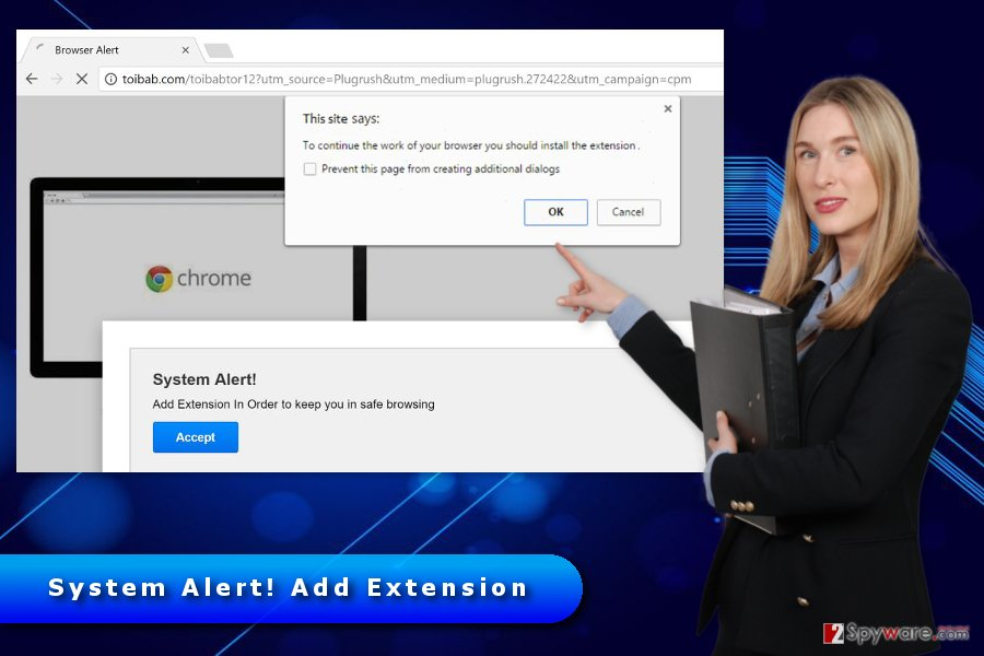 "The image of ""System Alert! Add Extension"" virus"