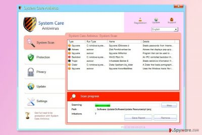 The screenshot of System Care Antivirus