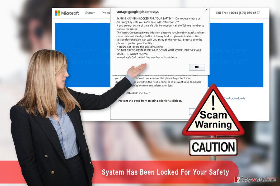 "The illustration of ""System Has Been Locked For Your Safety"" Tech support scam virus"