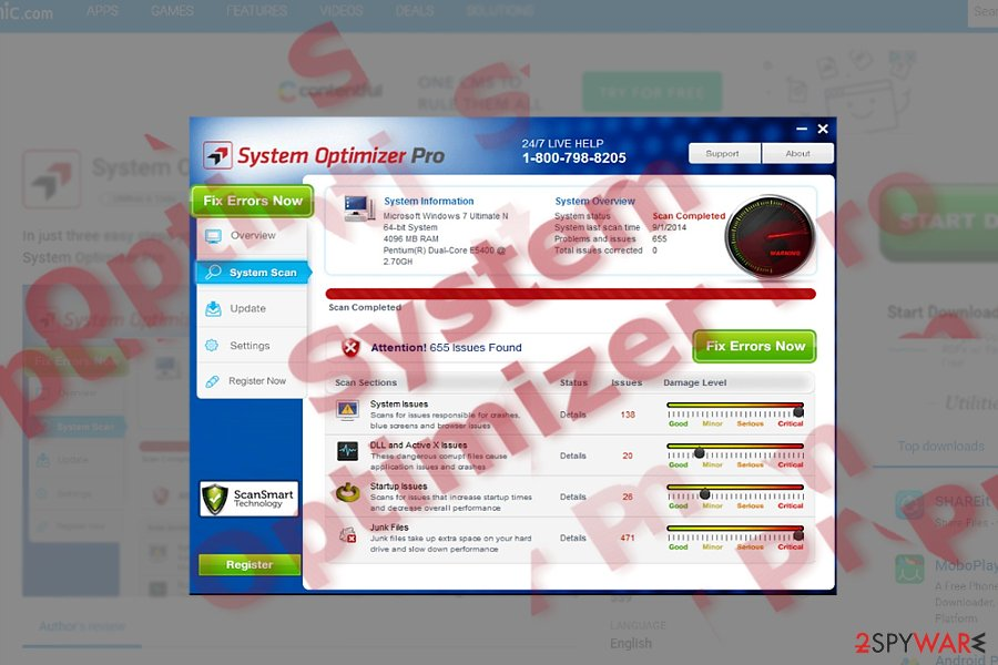 The sample of System Optimizer Pro