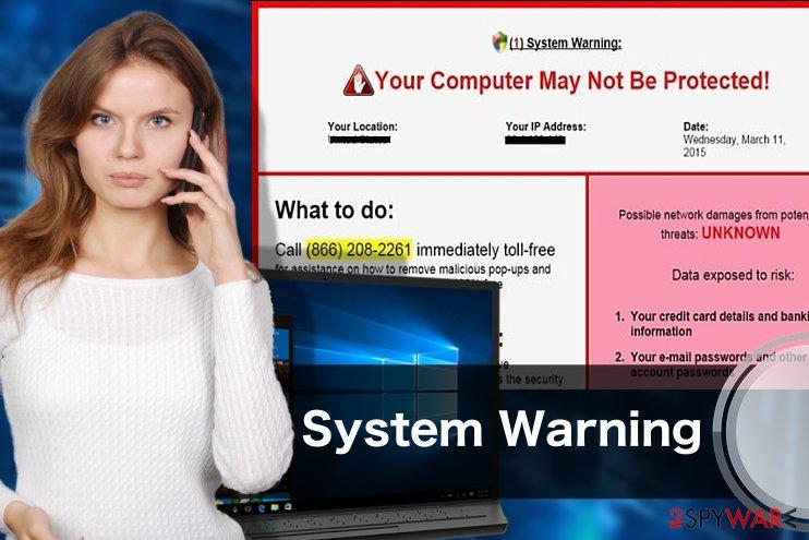 System Warning pop-up virus illustration