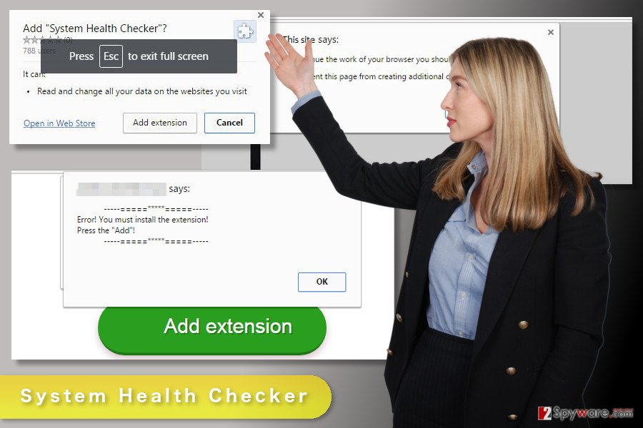 The illustration of System Health Checker virus