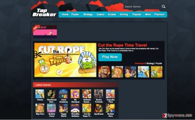 An image of TapBreaker adware virus website