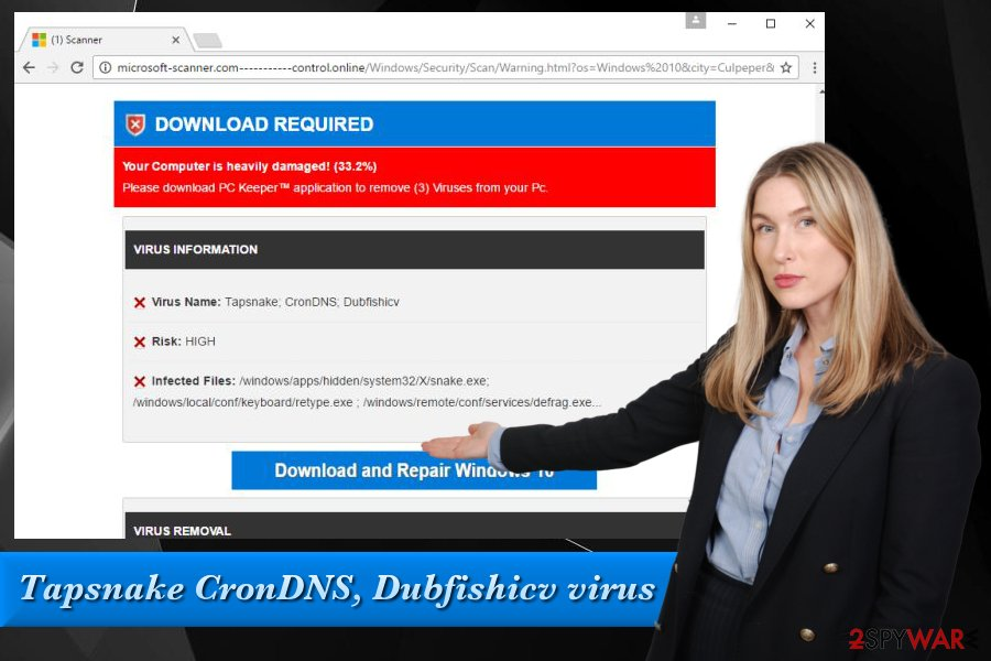 Tapsnake CronDNS, Dubfishicv virus fake pop-up