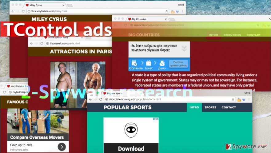 TControl malware opens strange websites full of ads