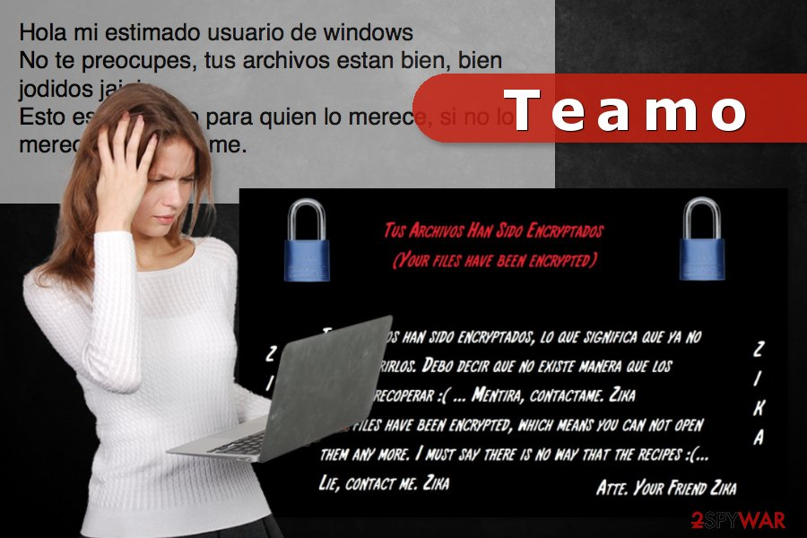 The image of Teamo ransomware attack