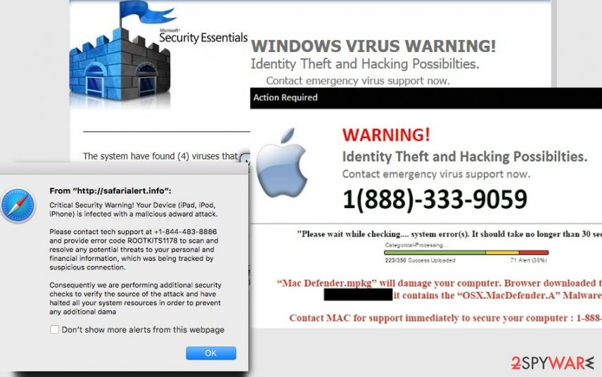 An illustration of Tech Support scam virus
