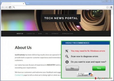 The illustration of TechFreeHelp adware