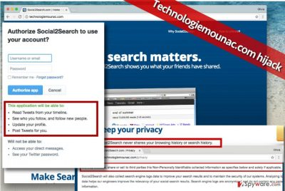Image showing Technologiemounac.com virus and its suspicious claims