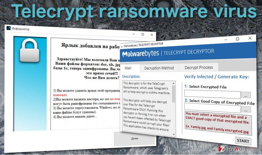 Telecrypt virus and decyptor image