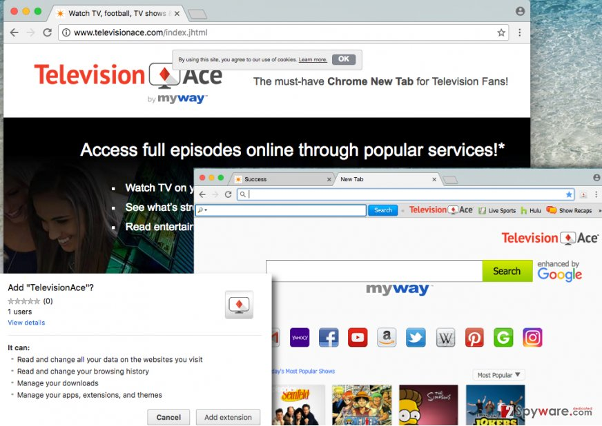 Screenshot of Television Ace Toolbar search engine