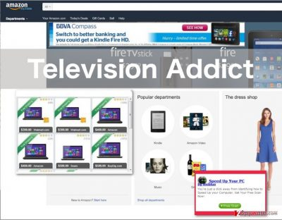 An illustration of the Television Addict virus ads