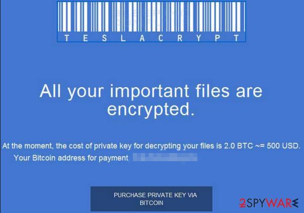 TeslaCrypt 2.0 encryption warning