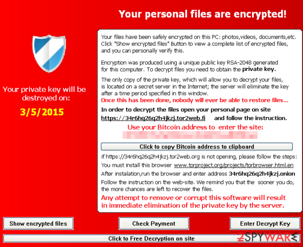 Scam message of TeslaCrypt 2.0 virus