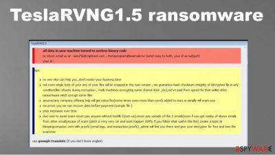 TeslaRVNG1.5 ransomware