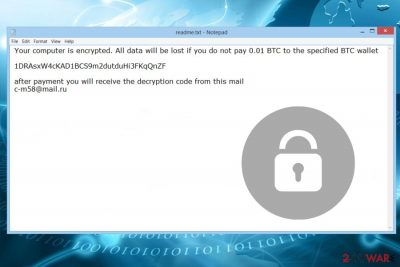 Ransom note by Thanatos ransomware