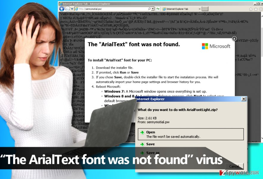 """The ArialText font was not found"" malware"