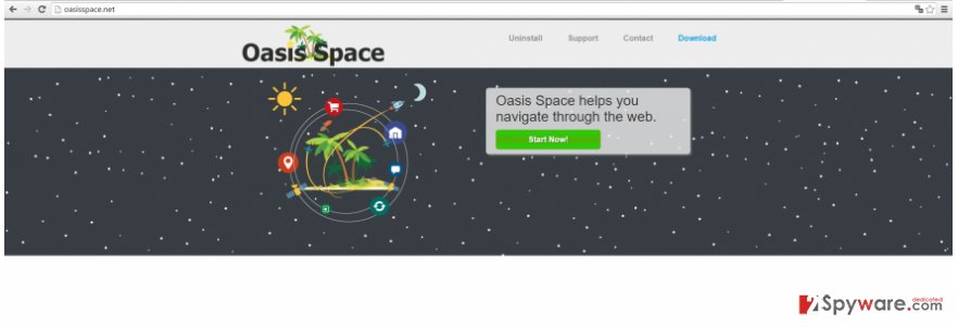 The example of Oasis Space ads virus