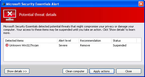 The fake Microsoft Security Essentials Alert