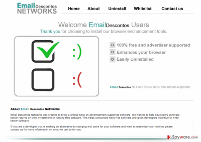 The picture showing the main page of Email Descontos