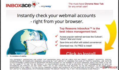 The main page of InboxAce and some sentences from its Privacy Policy