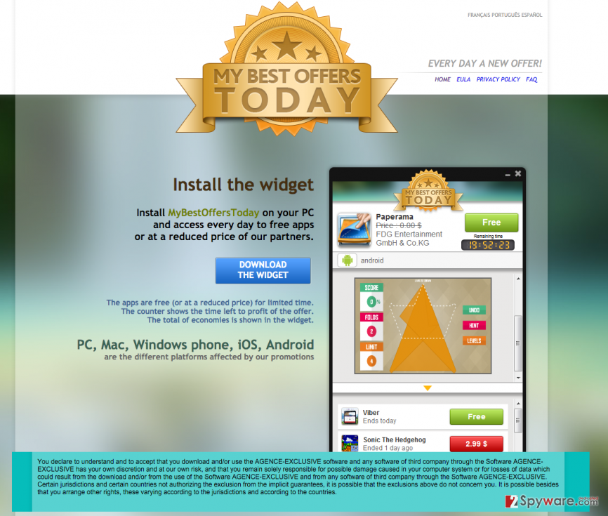 The picture showing My Best Offers Today adware