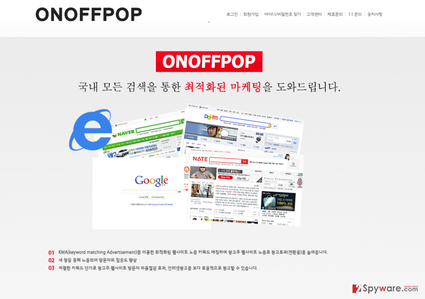 The example of OnOffPop main page