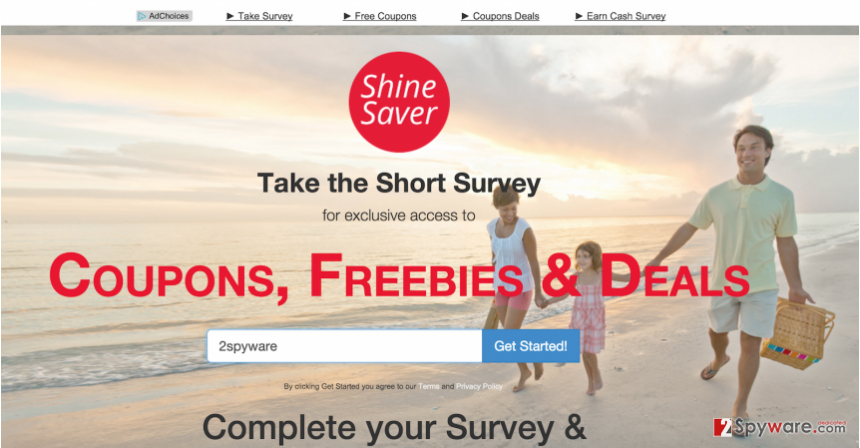 The main page of Shine Saver adware and its ads