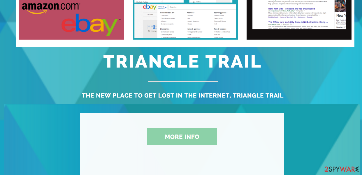The example of the main page of Triangle Trail and its ads