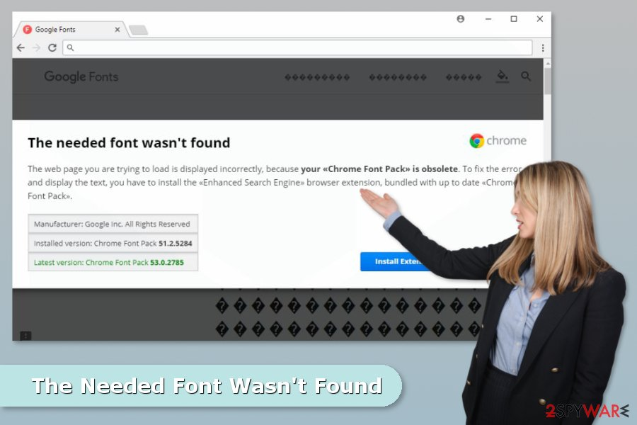 The image of The Needed Font Wasn't Found scam