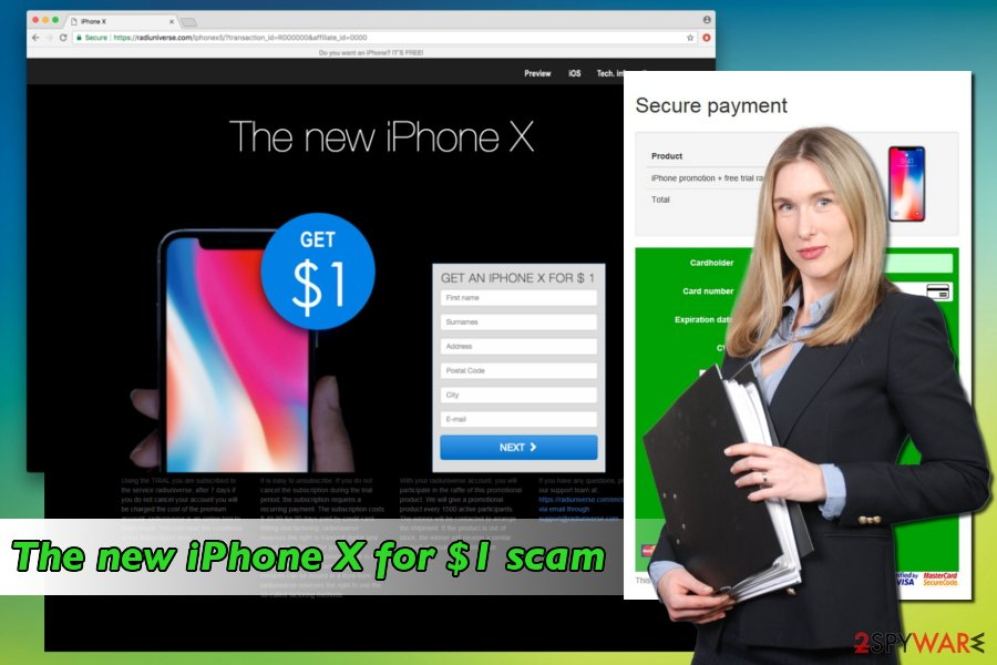 Displaying The new iPhone X for $1 scam