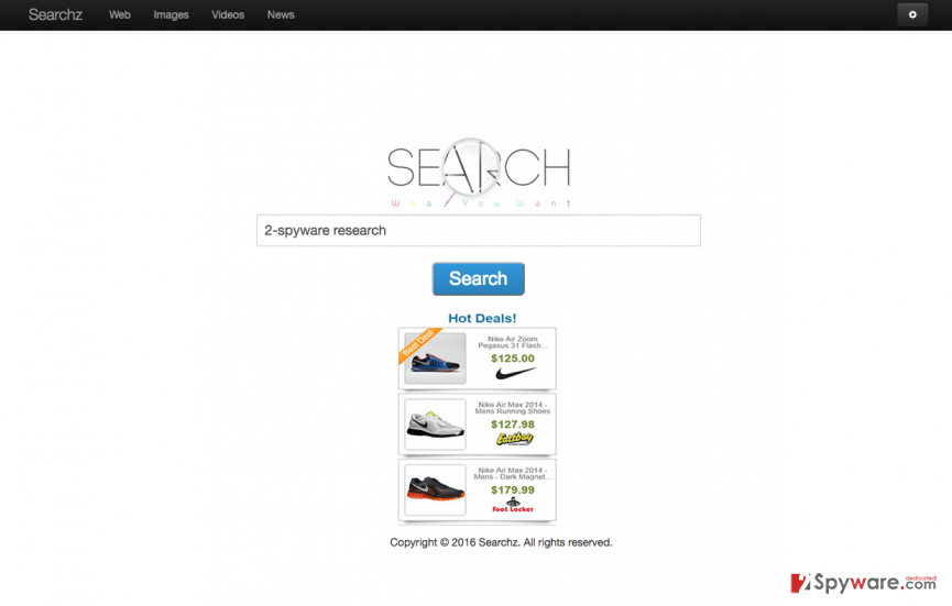 The picture of Searchz.online virus