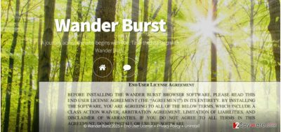 The main page of Wander Burst and its privacy policy