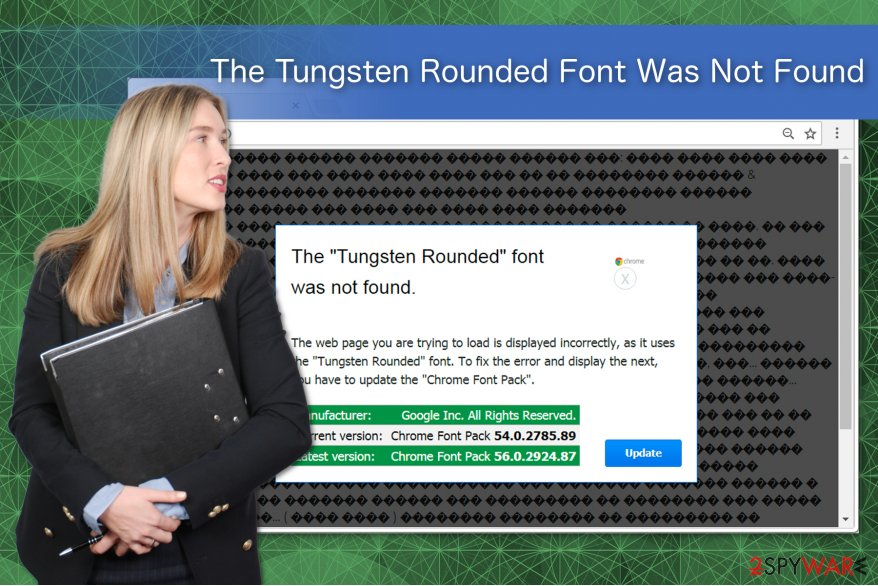 The Tungsten Rounded Font Was Not Found scam illustration