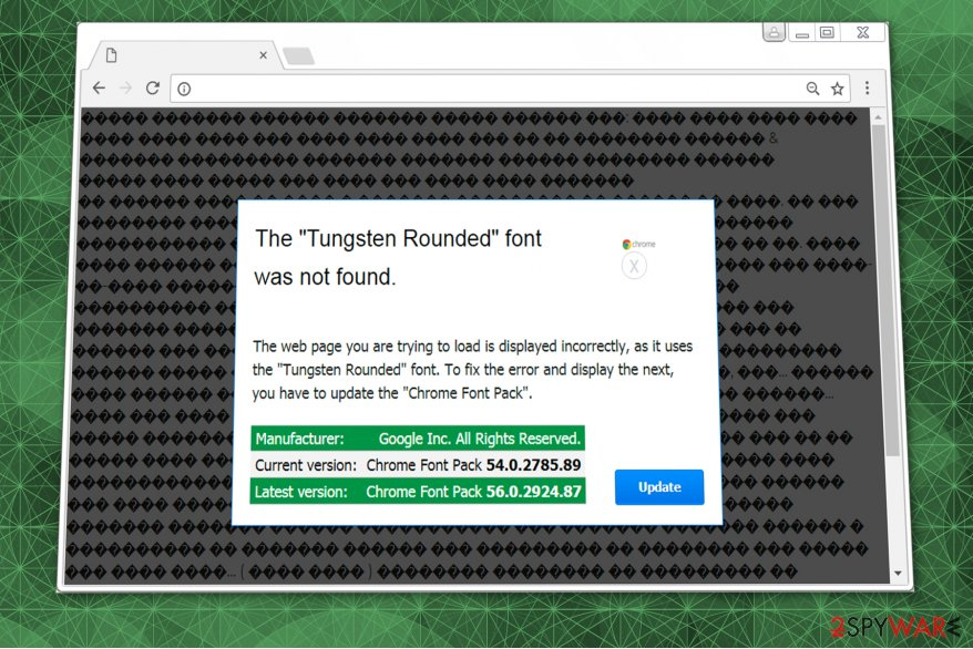The Tungsten Rounded Font Was Not Found scam image