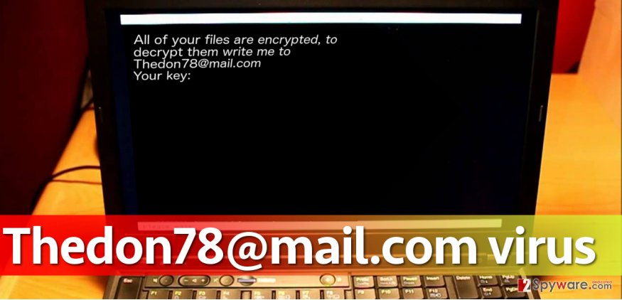 Image of Thedon78@mail.com virus on screen