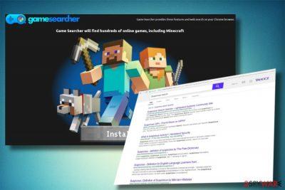A picture of TheGameSearcher redirect virus
