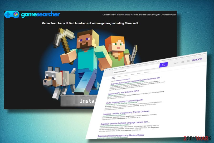 A picture of TheGameSearcher redirect virus