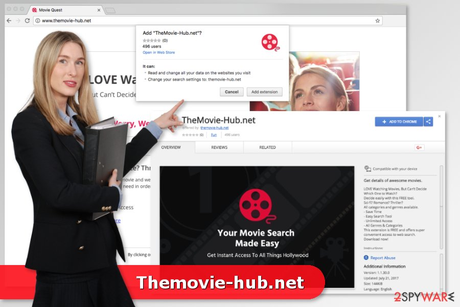 Screenshot of Themovie-hub.net virus