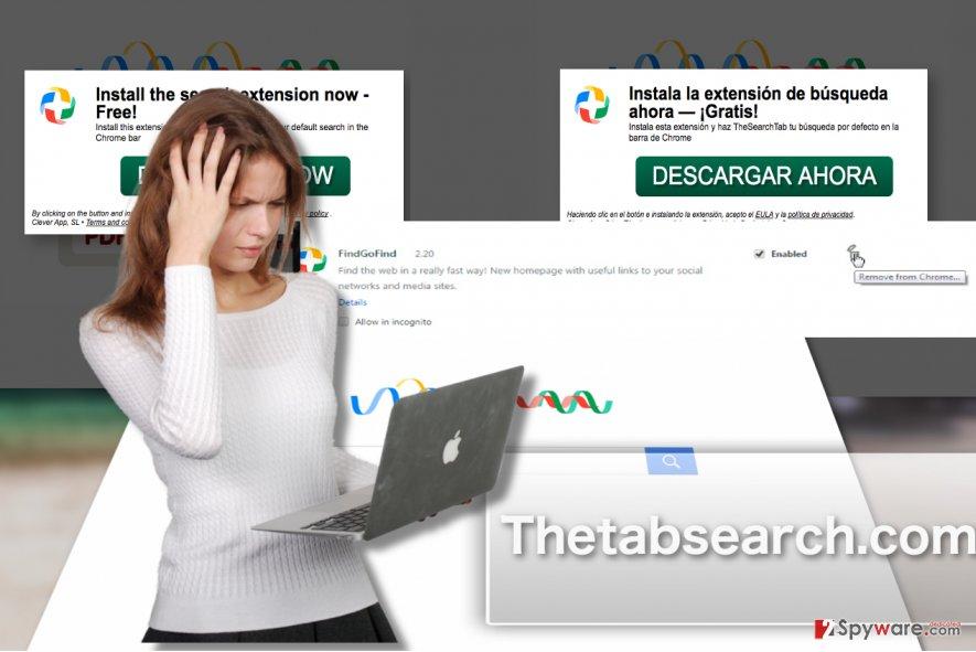 A screenshot of Thetabsearch.com virus