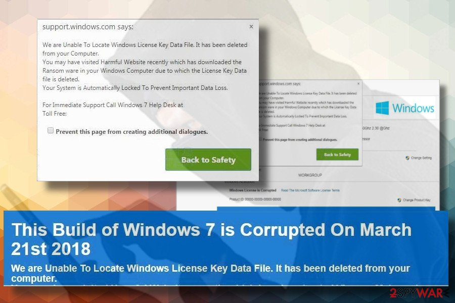This Build of Windows 7 Is Corrupted scam illustration