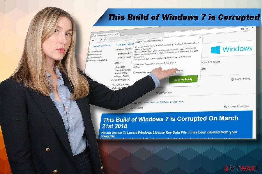 This Build of Windows 7 Is Corrupted Tech-Support-Scam example