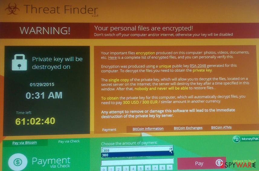 Threat Finder virus snapshot